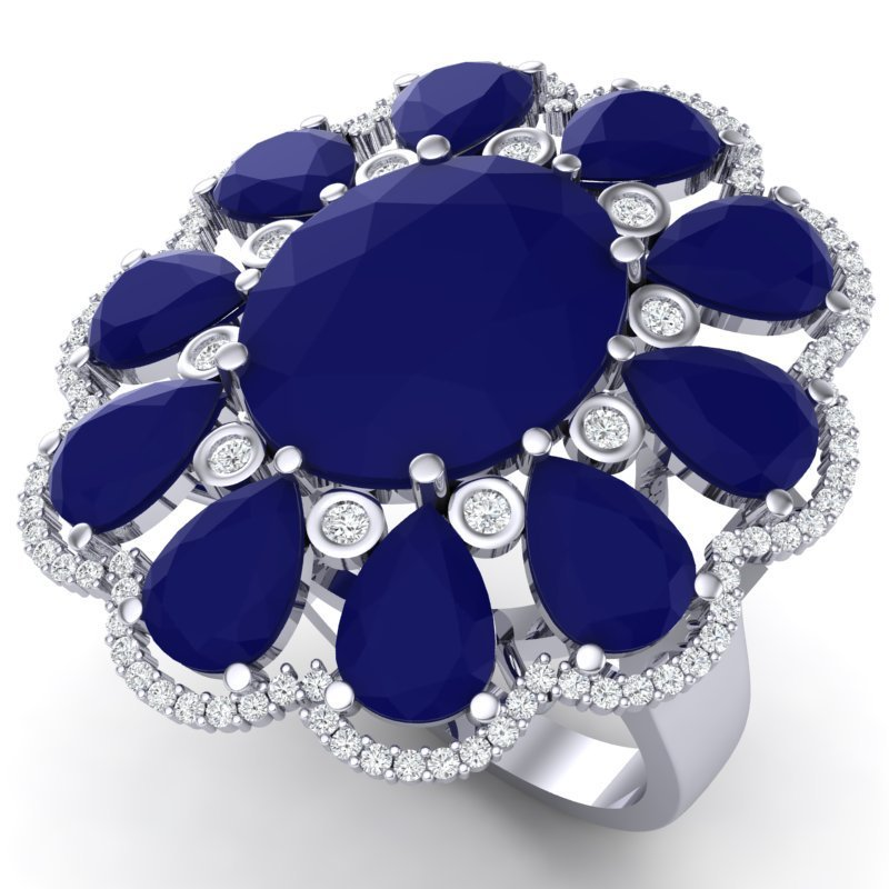 20.63 CTW Royalty Sapphire & VS Diamond Ring 18K Gold -