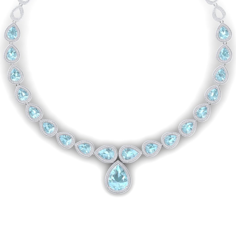 52 CTW Royalty Sky Topaz & VS Diamond Necklace 18K Gold