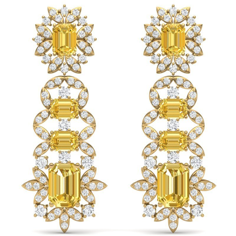 27.75 CTW Royalty Canary Citrine & VS Diamond Earring