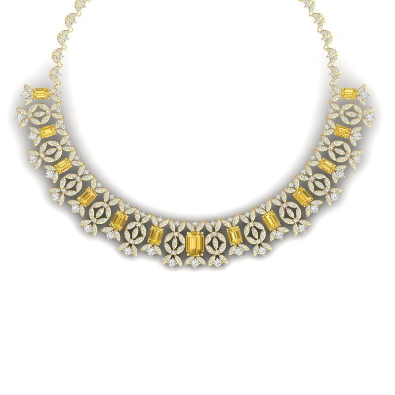 51.38 CTW Royalty Canary Citrine & VS Diamond Necklace