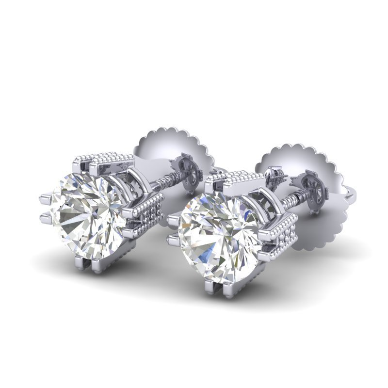 1.07 CTW VS/SI Diamond Solitaire Art Deco Stud Earring