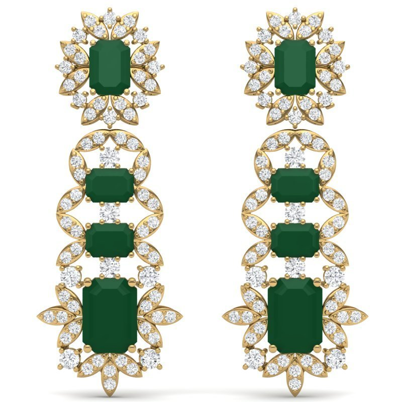 30.25 CTW Royalty Emerald & VS Diamond Earring 18K Gold