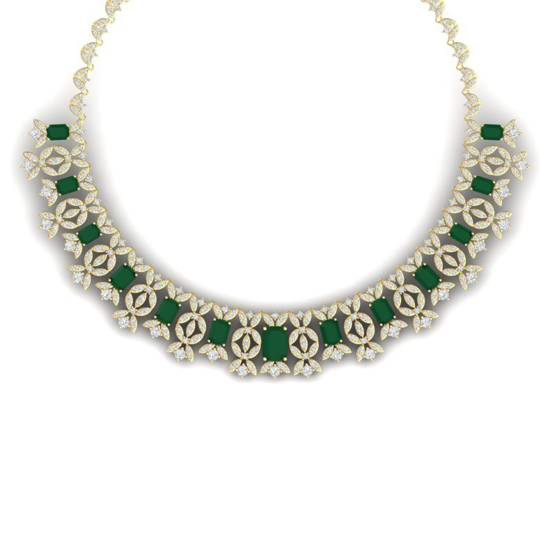 55.44 CTW Royalty Emerald & VS Diamond Necklace 18K