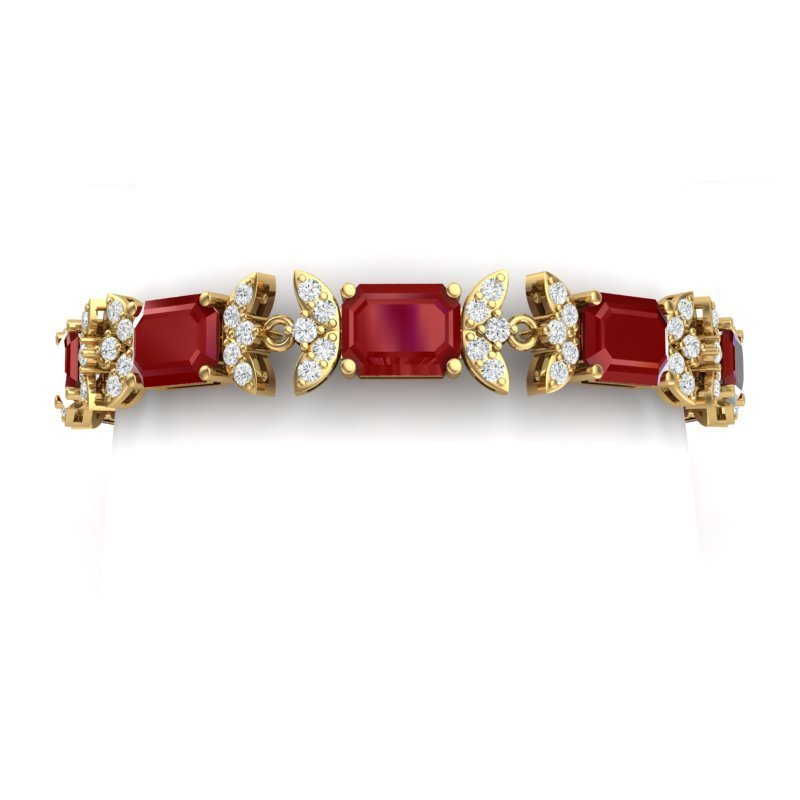 38.13 CTW Royalty Ruby & VS Diamond Bracelet 18K Gold -