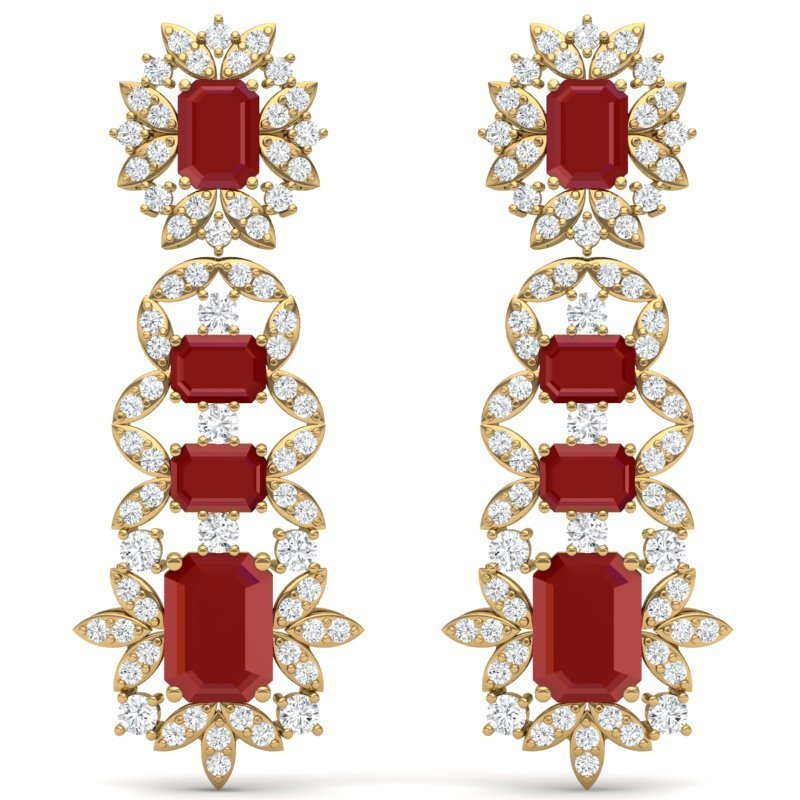30.25 CTW Royalty Designer Ruby & VS Diamond Earring