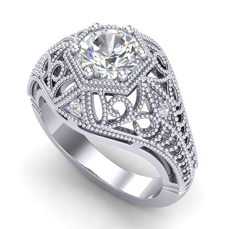 1.07 CTW VS/SI Diamond Art Deco Ring 18K White Gold -