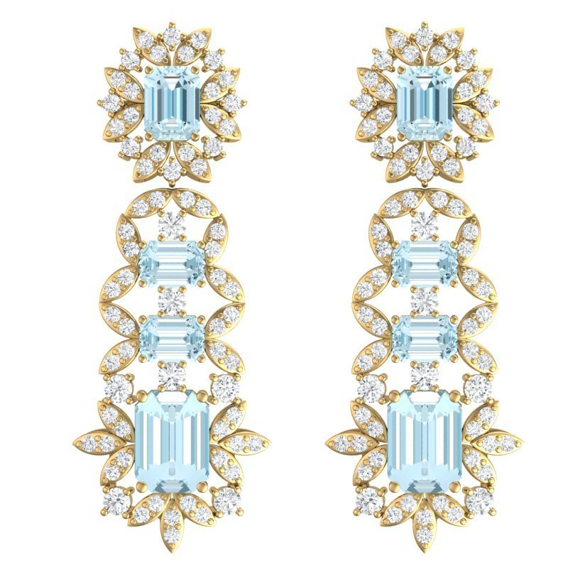 33.36 CTW Royalty Sky Topaz & VS Diamond Earring 18K