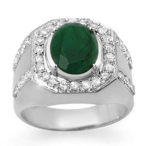 5.25 ctw Emerald & Diamond Men's Ring 10K White Gold -