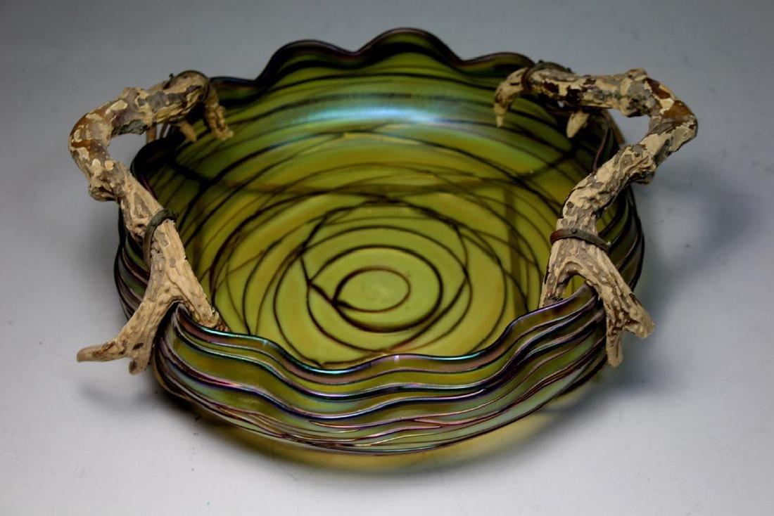 Austrian Threaded Art Glass Bowl
