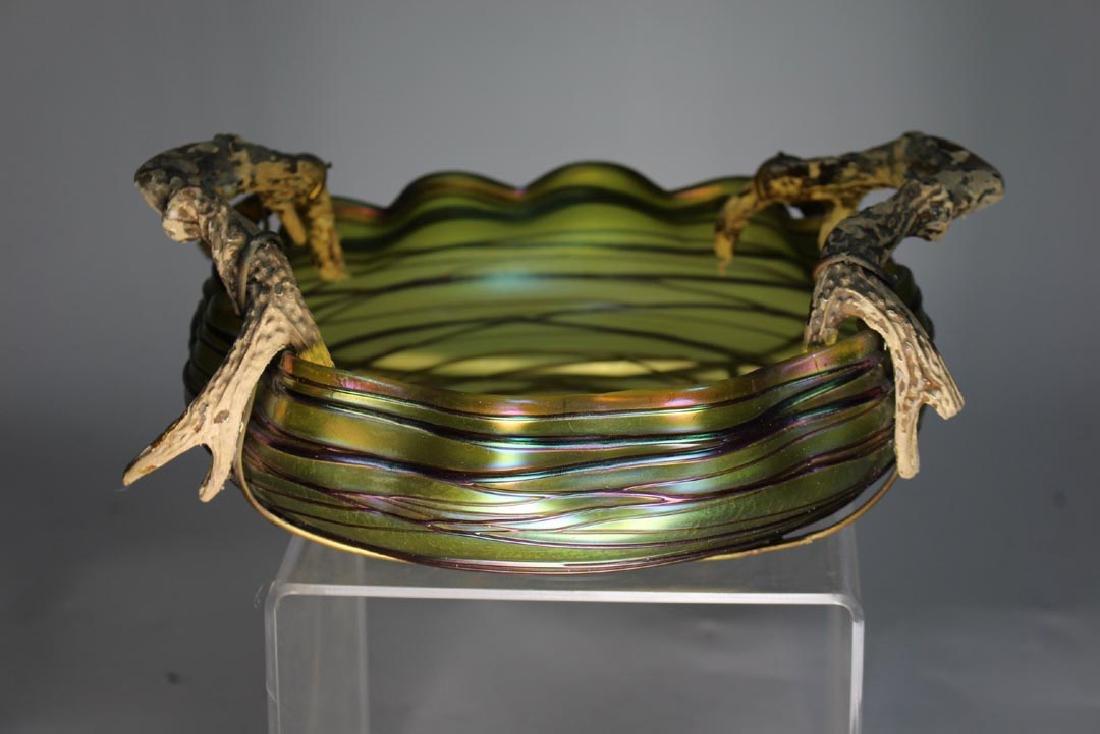 Austrian Threaded Art Glass Bowl - 2