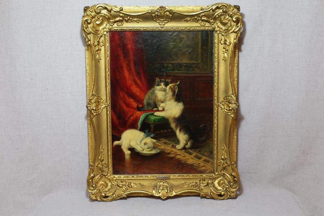 Leon Huber (Fr. 1858 - 1928) Painting Of Cats