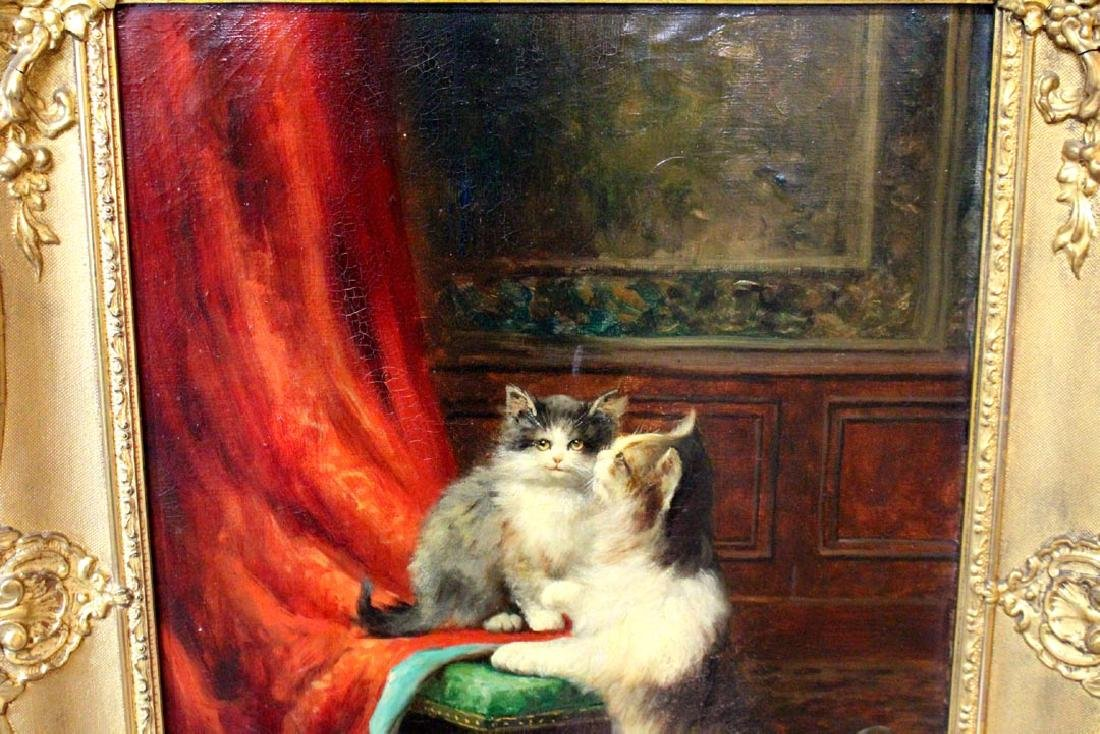 Leon Huber (Fr. 1858 - 1928) Painting Of Cats - 2