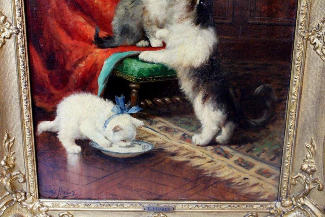 Leon Huber (Fr. 1858 - 1928) Painting Of Cats - 3