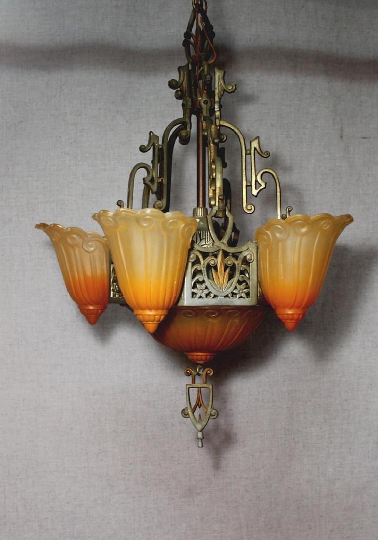 Original Art Deco Lincoln Chandelier - 2