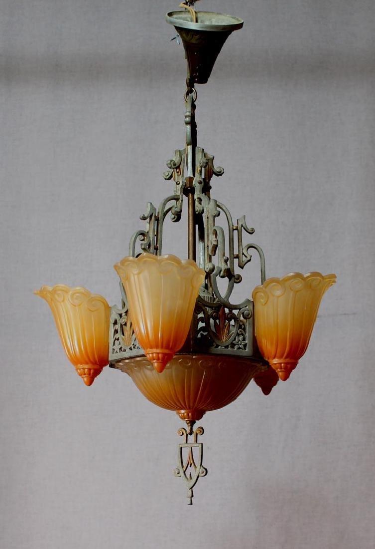 Original Art Deco Lincoln Chandelier