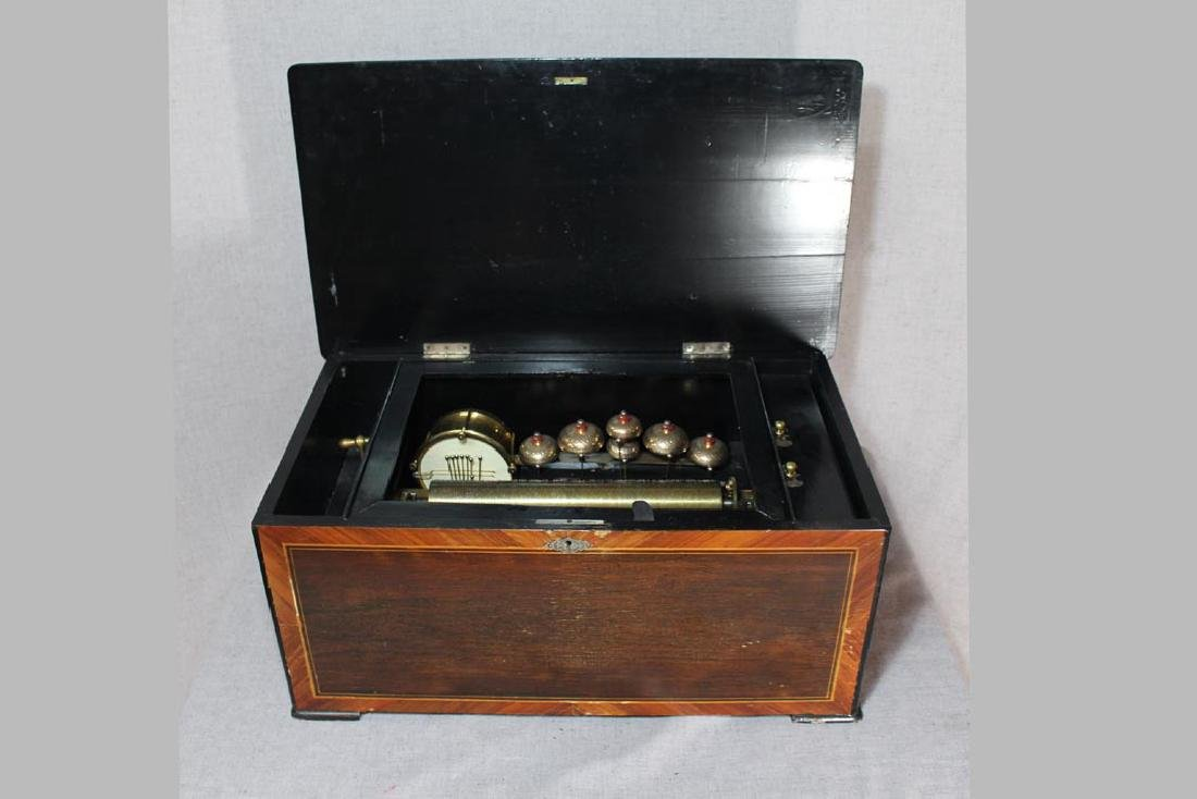Swiss Bell And Drum Cylinder Music Box