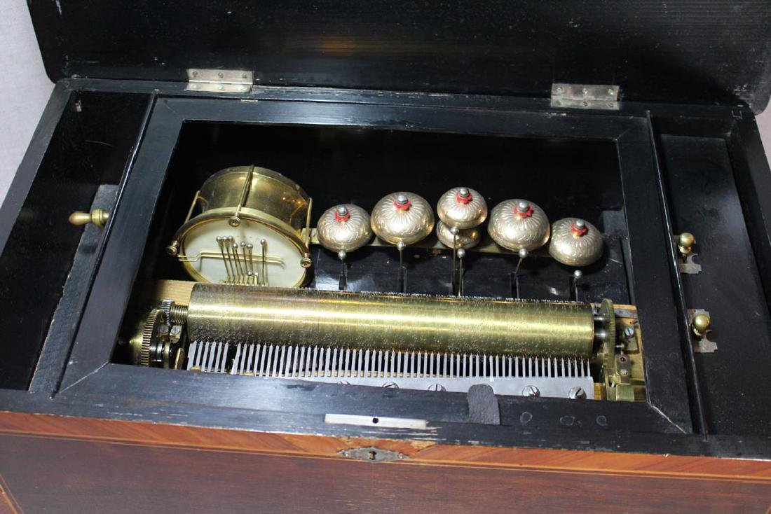 Swiss Bell And Drum Cylinder Music Box - 2