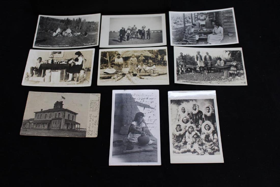 Nine Photograph Post Cards With Indians