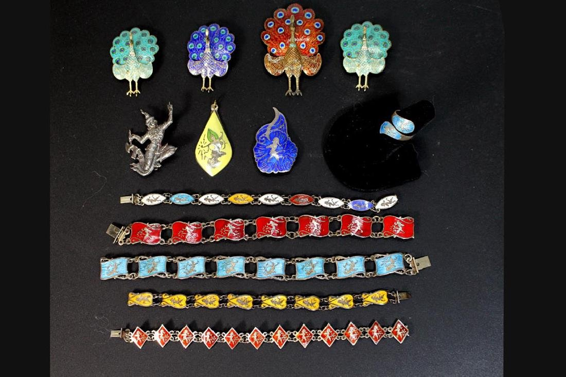 Group Of Sterling Siam Jewelry