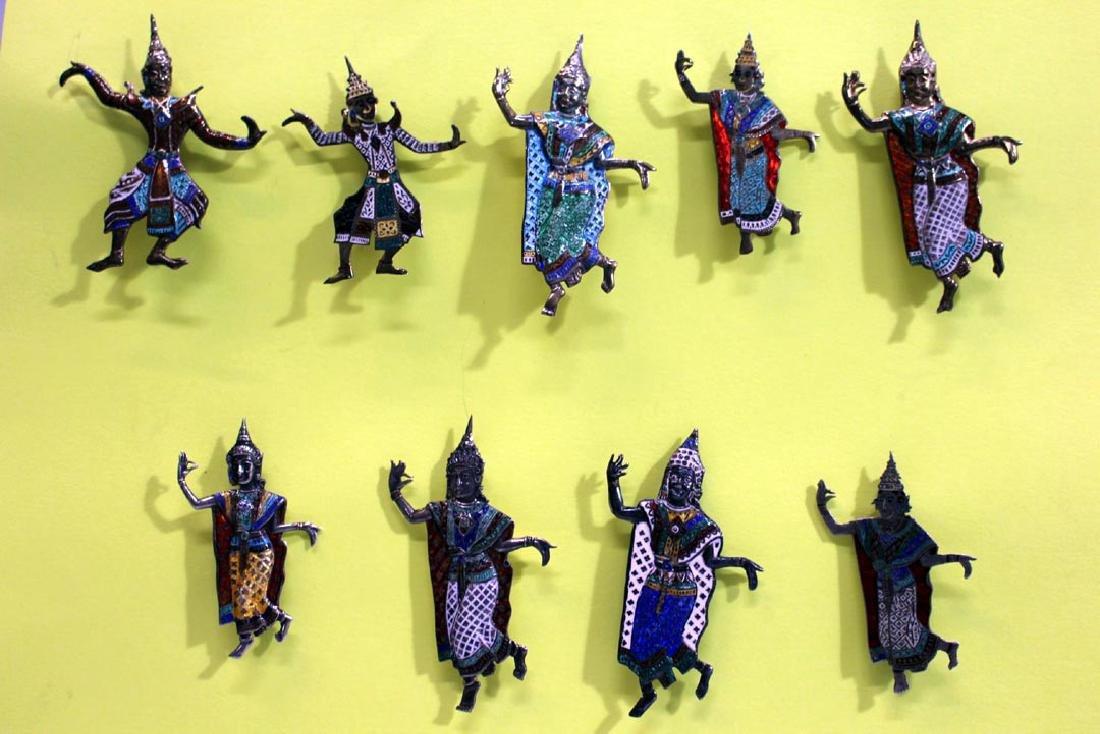 Group Of Nine Sterling Siam Dancers