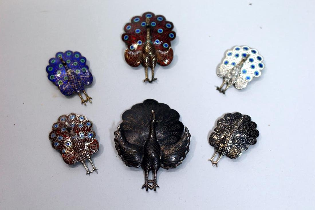 Six Sterling Siam Peacock Pins