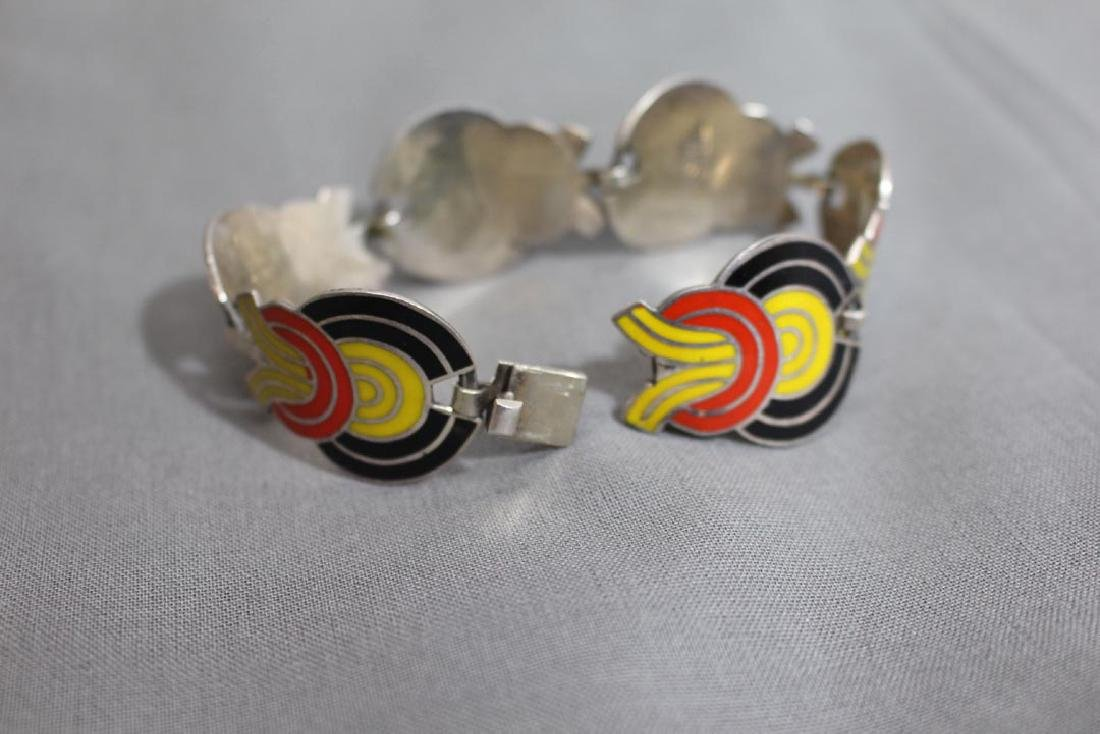 Mexican Sterling Art Deco Bracelet - 4