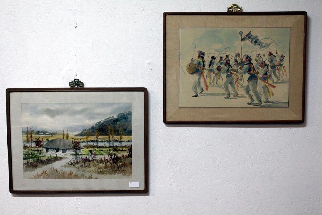 Two Water Colors By Artist, Hoe Won