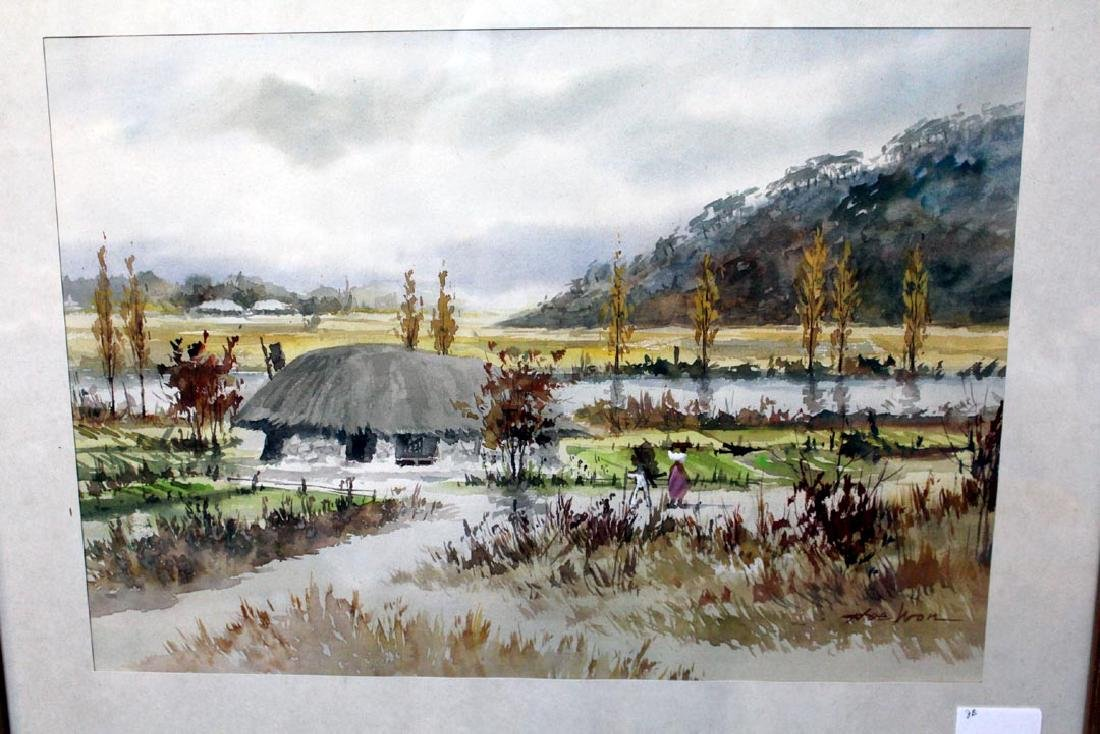 Two Water Colors By Artist, Hoe Won - 2