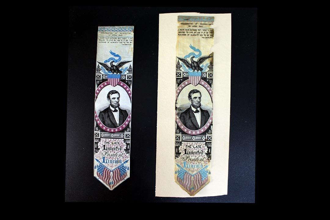 Abraham Lincoln Stevensgraph Memorial Ribbons