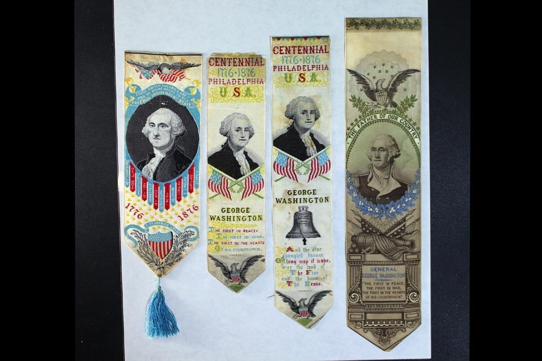 Four Silk Woven Bookmarks With George Washington