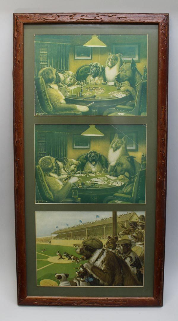 Triptych Of C.M. Coolidge Dog Prints