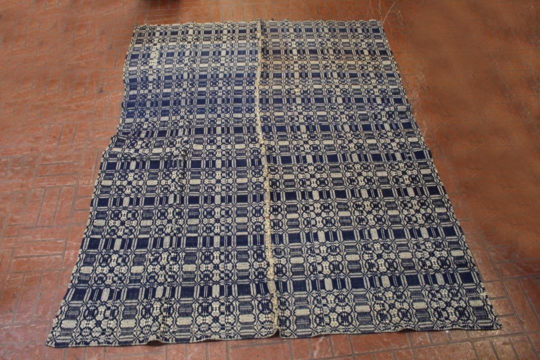Blue And White Jacquard Coverlet