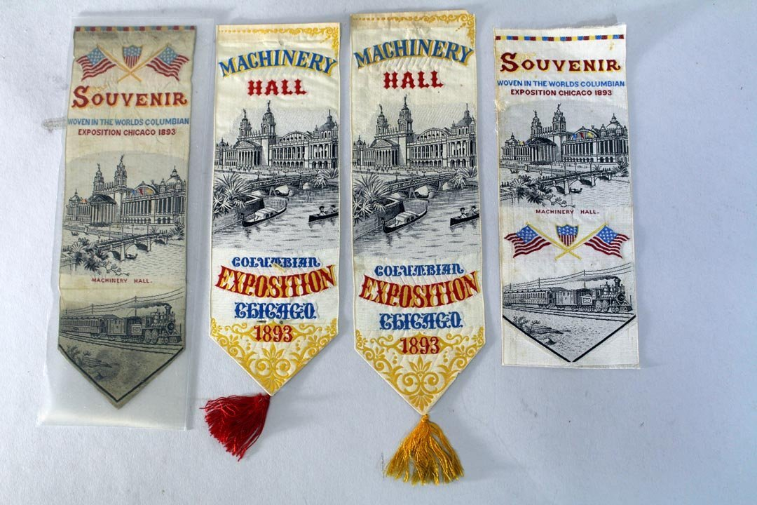 Four Columbian Exposition Silk Bookmarks