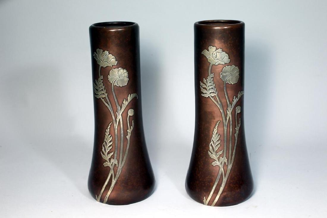 Heintz Sterling Overlay Bronze Vases