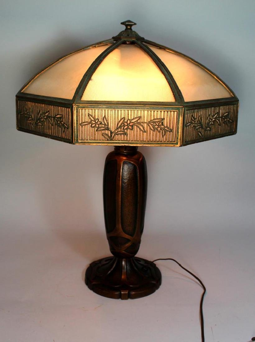 Signed Bradley & Hubbard 8-Panel Lamp