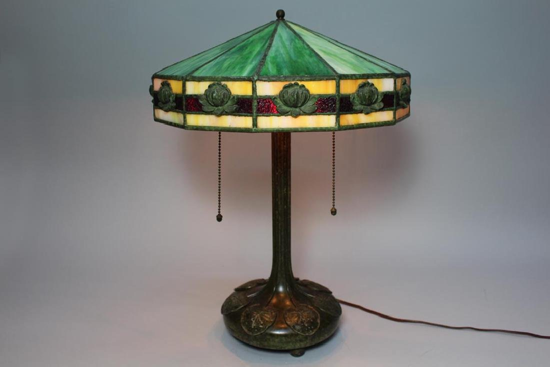 Water Lily Leaded Glass Lamp