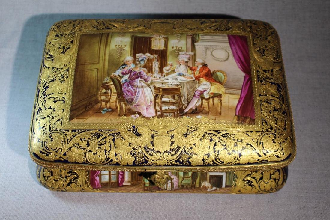 Large Hand Painted Sevres Box