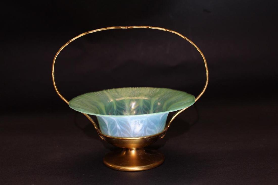 Tiffany Pastel Bowl In Bronze Holder