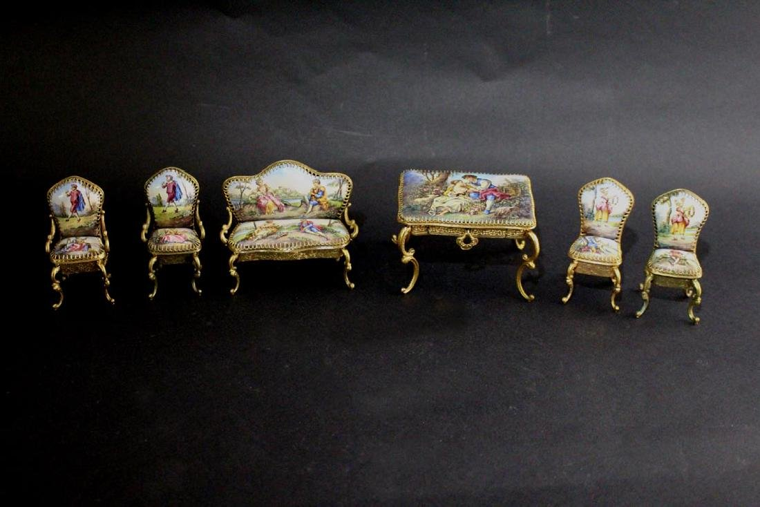 Miniature Viennese Enameled Parlor Set
