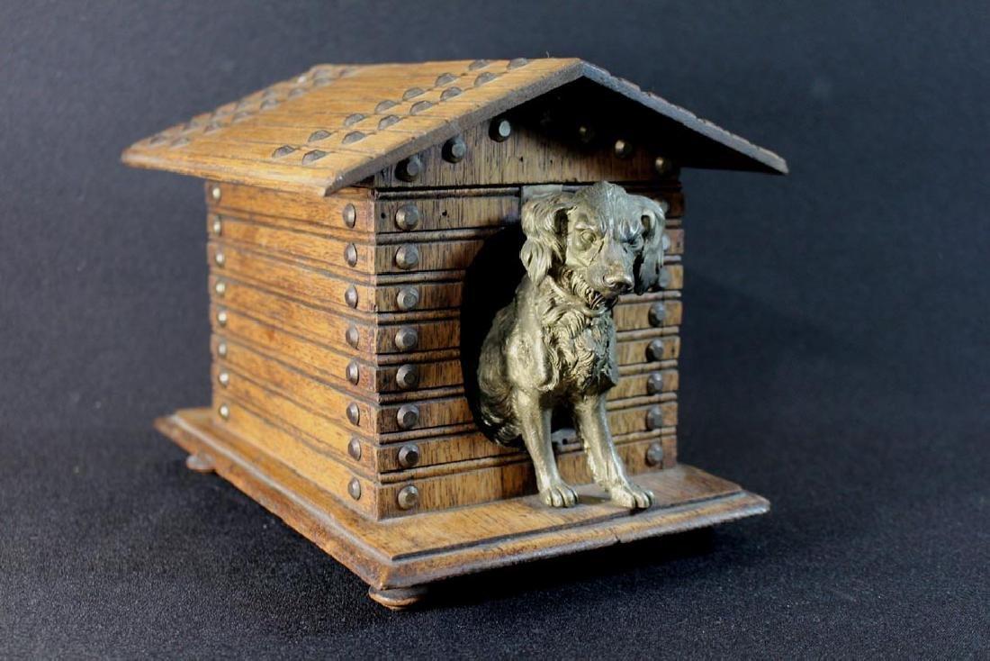 Oak Dog House Box With Hinged Lid