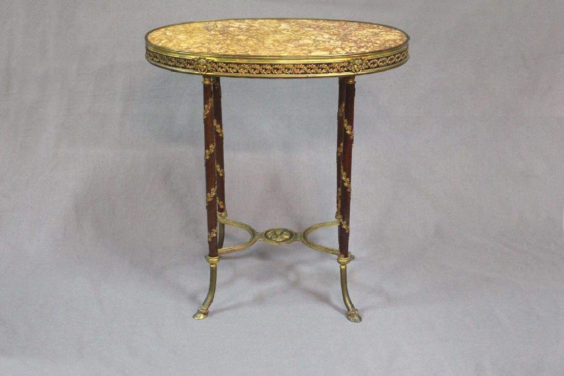 French Bronze And Marble Top Oval Table