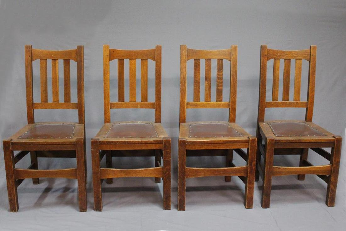 Four Quaint Stickley Bros. Side Chairs