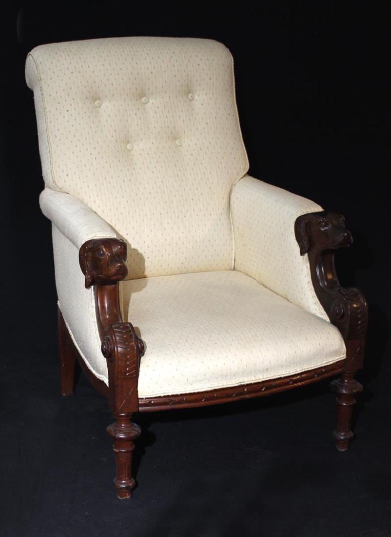 Late 19th Century Walnut  Dog Head Chair
