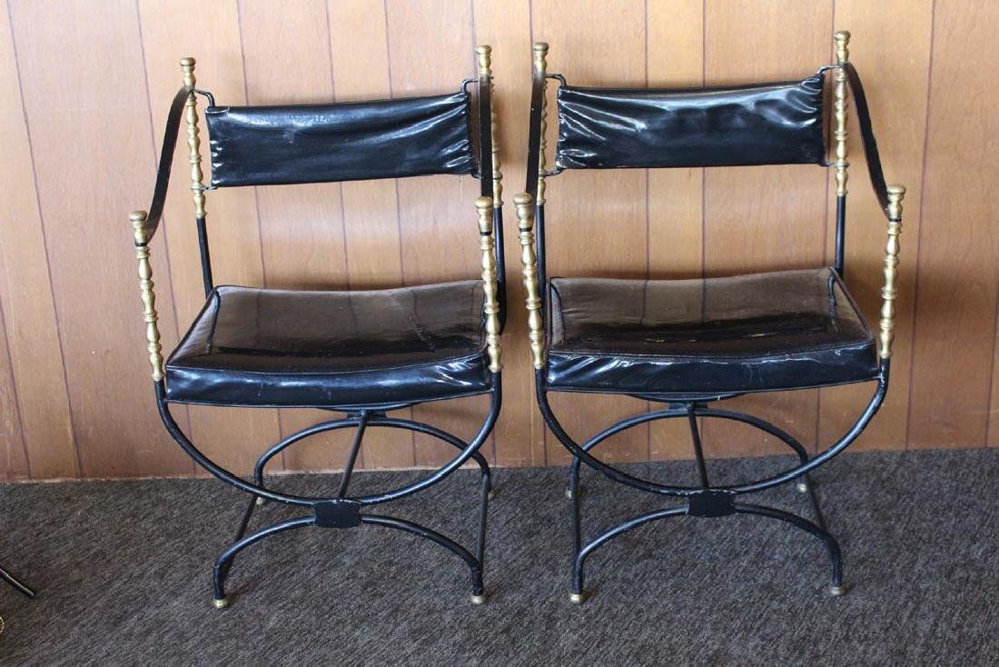 Iron And Brass Curule Style Chairs