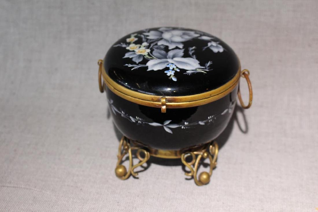Enameled Black Glass Trinket Box