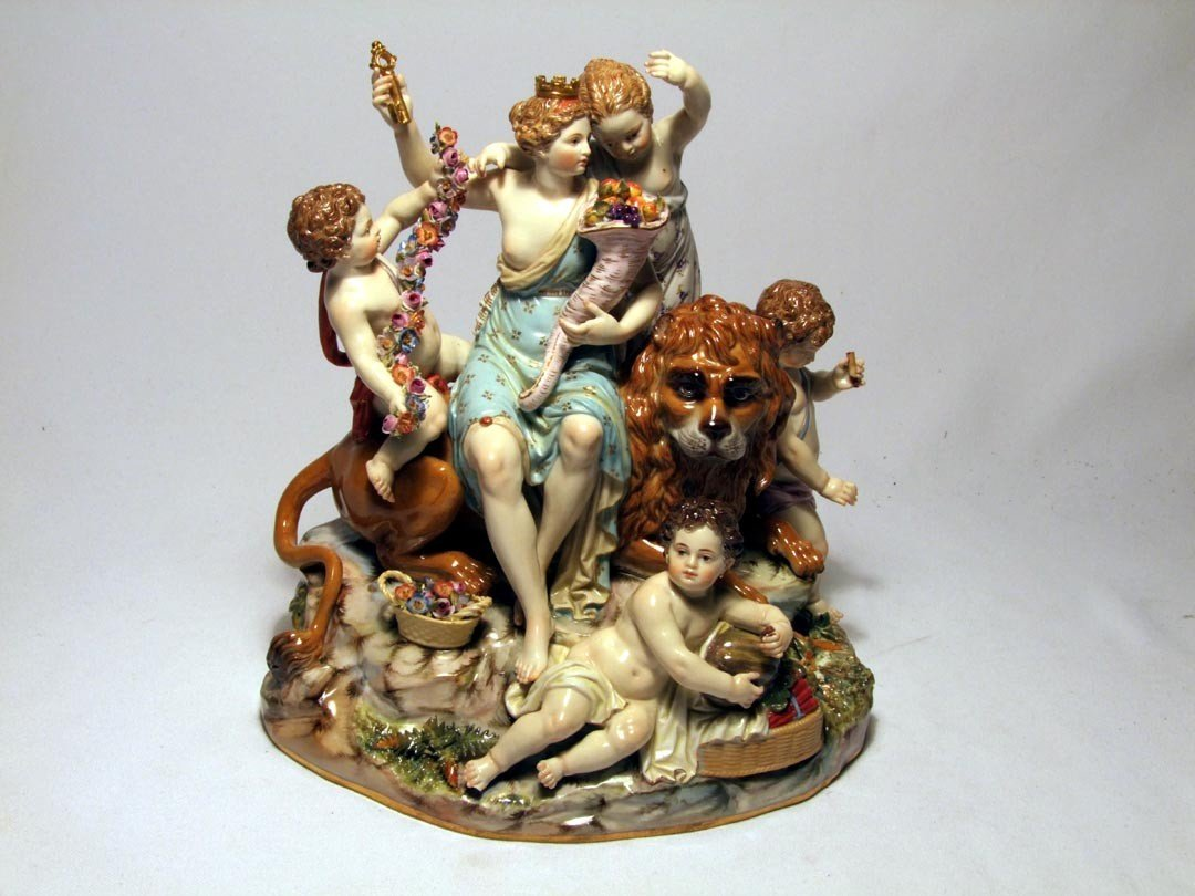 4: Late 19th Century Meissen Group Of Cybele