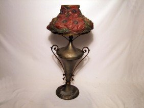 Welsbach Gas Lamp With Reverse Painted Puffy Shade