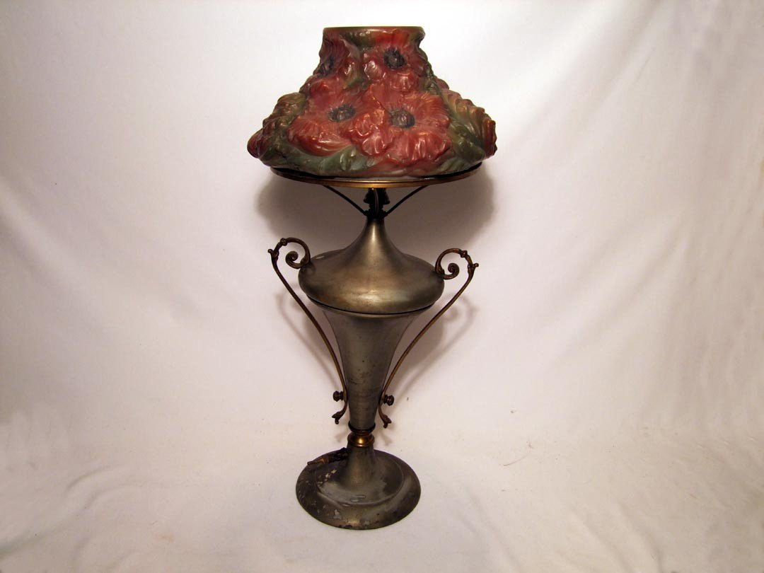8: Welsbach Gas Lamp With Reverse Painted Puffy Shade