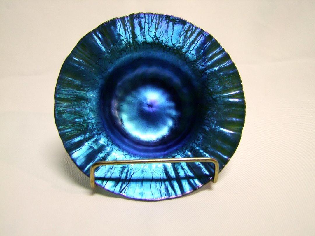 10: Blue Tiffany Onion Skin Flared Bowl