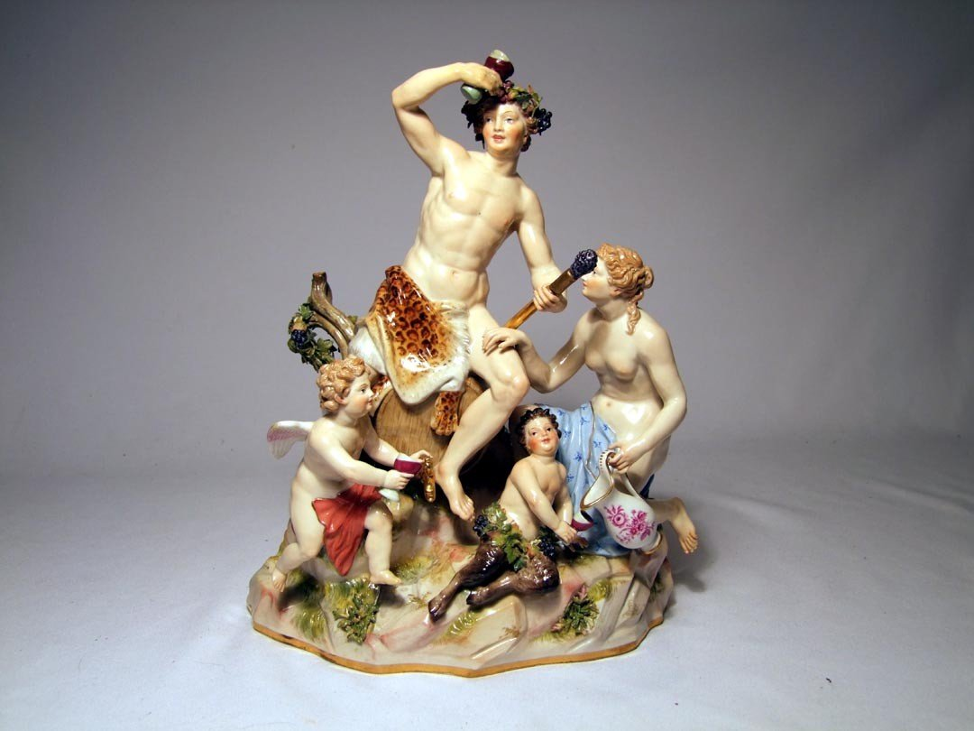15: 19th Century Meissen Figural Group With Bacchus